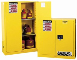 Safety Cabinet stores volatile flammable liquids.