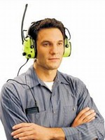 Earmuffs allow workers to listen to music on the job.