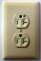 Hospital Grade Receptacles indicate power to outlets.