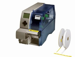 Thermal Transfer Printer prints on heat-shrink wire markers.