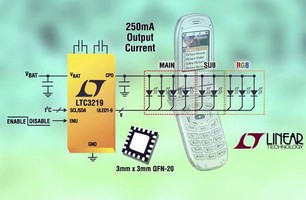 Cell Phone LED Driver provides up to 250 mA output current.