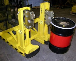 Forklift Attachment handles 30, 55, and 85 gal steel drums.