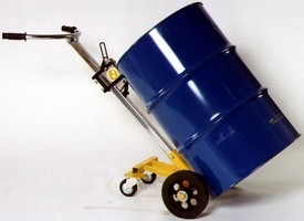 Hand Truck accommodates all rimmed drums.
