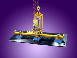 Air Powered Lifter-Tilter handles glass or stone panels.