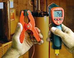 Infrared Thermometer includes pipe clamp for HVAC industry.