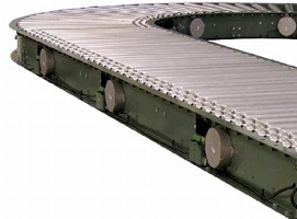 Conveyor features 24 Vdc live roller technology.