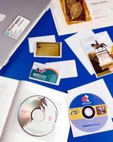 Adhesive Vinyl Holders accommodate, display various items.