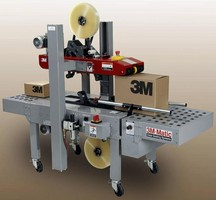 Automated Case Sealer handles different sized cases.