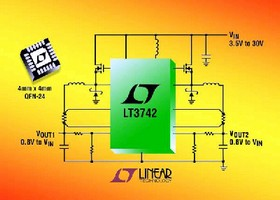DC/DC Controller produces output voltages up to 30 V.