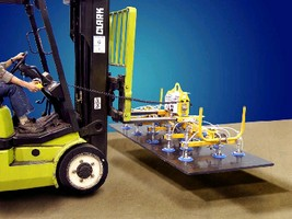 Fork Lift Vacuum Attachment secures loads from top.