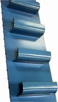 Sanitary Conveyor features vertical scoop belting.