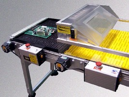 Wave Exit Conveyor transfers and cools hot circuit boards.