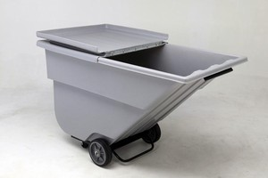 Tilt Trucks feature ergonomic hinged lid.