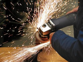 Angle Grinder provides speed control up to 7,300 rpm.