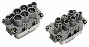 Connector combines power and signal contacts.
