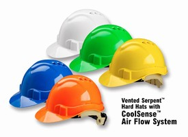 Ventilated Safety Helmet helps keep workers cool.