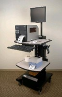Workstation holds and powers variety of equipment.