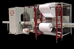 Packaging System combines bundling and stretch wrapping.