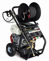 Cold-Water Pressure Washers feature hand-truck design.