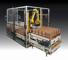 Robotic Palletizer handles 2 pallets from 1 station.