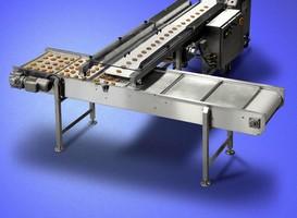 Shuttle Conveyor transfers single file product into rows.