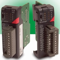 Modular PLC accepts DC output option with fault protection.