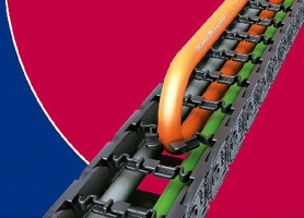 Cable Carrier combines sturdy chain with flexible brackets.