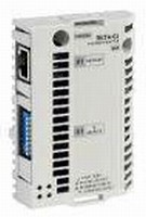 Adapter connects drives to PROFINET IO/Modbus TCP network.