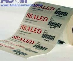 Barcoded Security Labels have tamper-evident seal.