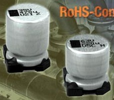 SMD Aluminum Capacitors have long-life (3,000 hr) design.