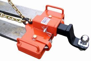 Ball Hitch Adapter lets fork lifts haul hitch equipment.