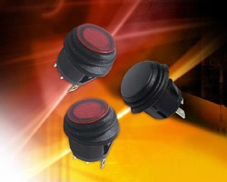 Round Rocker Switches feature water-resistant design.