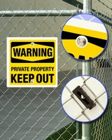 Tamper-Resistant Brackets attach signs to chain link fences.