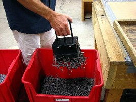 Magnetic Lifters pick up and release bulk ferrous metal parts.