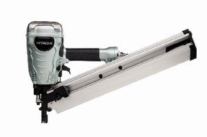 Framing Nailer uses offset, round head, wire weld nails.