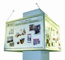 Suspended Displays feature 4-sided design.