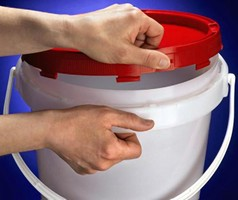 Easy-Open Plastic Pails securely store pool/spa chemicals.