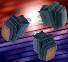 Miniature Rocker Switch has water-resistant design.