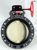 Butterfly Valves have gear-operated, all-plastic design.