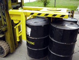 Forklift Attachment increases drum lifting safety margin.