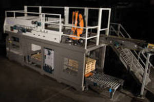 In-Line Palletizers feature robotic case divider/turner.
