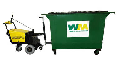 Dumpster Mover pulls heavy containers to curb side.