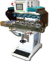 Pad Print Machine accommodates up to 6 ink cup assemblies.