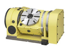 Trunion Rotary Table allows 5-sided machining of workpiece.