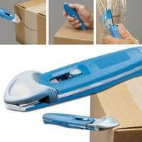 Box Cutter features cast metal safety blade/guard.