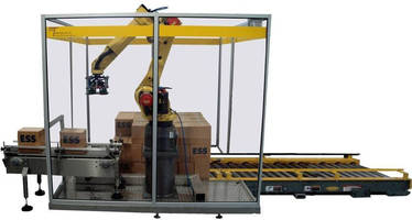 Robotic Pallet Cell integrates dispenser and conveyor.
