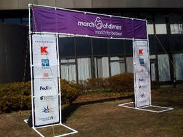 Banner Stand provides outdoor event visibility.