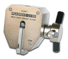 Tensile Tester features self-tightening grip.