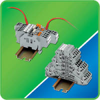 Terminal Blocks feature staggered jumpering system.