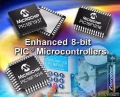 Microcontrollers feature mid-range 8-bit core.